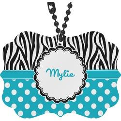 Dots & Zebra Rear View Mirror Decor (Personalized)