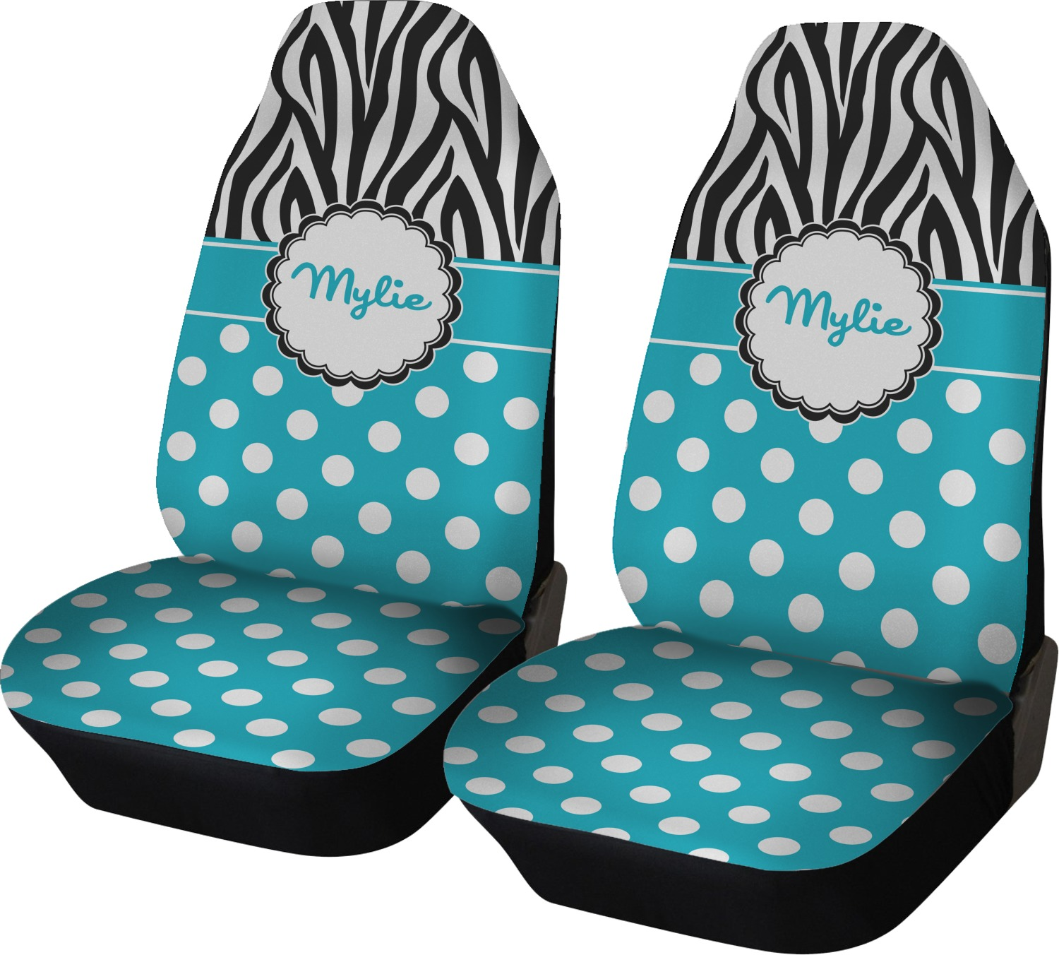 Dots Amp Zebra Car Seat Covers Set Of Two Personalized