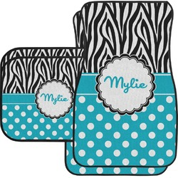 Dots & Zebra Car Floor Mats Set - 2 Front & 2 Back (Personalized)