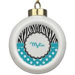 Dots & Zebra Ceramic Ball Ornament (Personalized)