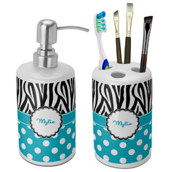 Dots & Zebra Bathroom Accessories Set (Ceramic) (Personalized)