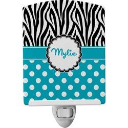 Dots & Zebra Ceramic Night Light (Personalized)
