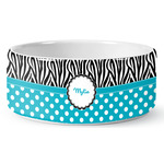 Dots & Zebra Ceramic Dog Bowl (Personalized)