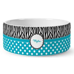 Dots & Zebra Ceramic Dog Bowl (Personalized)
