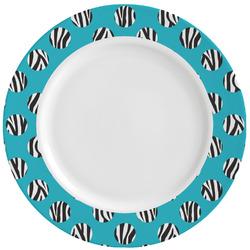 Dots & Zebra Ceramic Dinner Plates (Set of 4) (Personalized)
