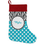 Dots & Zebra Holiday Stocking w/ Name or Text