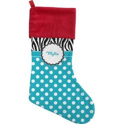 Dots & Zebra Christmas Stocking (Personalized)