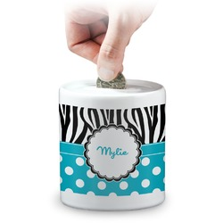 Dots & Zebra Coin Bank (Personalized)