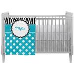 Dots & Zebra Crib Comforter / Quilt (Personalized)