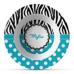 Dots & Zebra Plastic Bowl - Microwave Safe - Composite Polymer (Personalized)