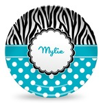 Dots & Zebra Microwave Safe Plastic Plate - Composite Polymer (Personalized)