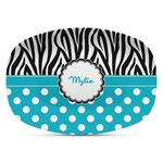 Dots & Zebra Plastic Platter - Microwave & Oven Safe Composite Polymer (Personalized)