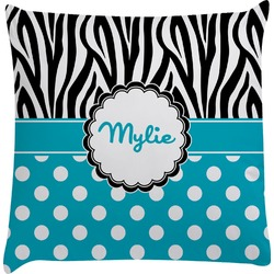 Dots & Zebra Decorative Pillow Case (Personalized)
