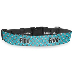 "Dots & Zebra Deluxe Dog Collar - Large (13"" to 21"") (Personalized)"