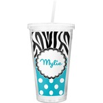 Dots & Zebra Double Wall Tumbler with Straw (Personalized)