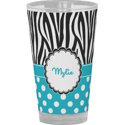 Dots & Zebra Drinking / Pint Glass (Personalized)