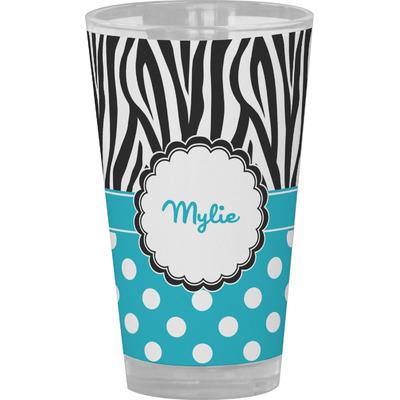 Dots & Zebra Drinking / Pint Glass (Personalized)