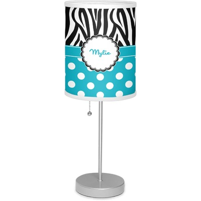"""Dots & Zebra 7"""" Drum Lamp with Shade (Personalized)"""
