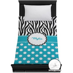Dots & Zebra Duvet Cover - Twin (Personalized)