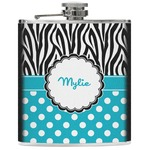 Dots & Zebra Genuine Leather Flask (Personalized)