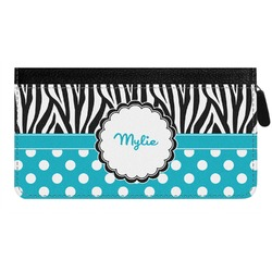 Dots & Zebra Genuine Leather Ladies Zippered Wallet (Personalized)