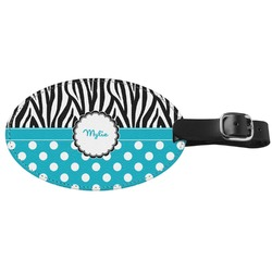 Dots & Zebra Genuine Leather Oval Luggage Tag (Personalized)