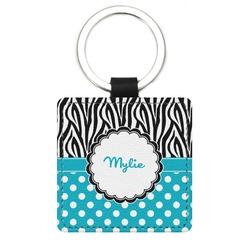Dots & Zebra Genuine Leather Rectangular Keychain (Personalized)