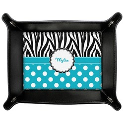 Dots & Zebra Genuine Leather Valet Tray (Personalized)
