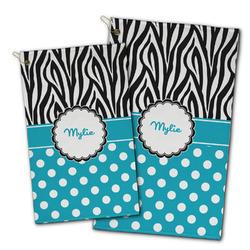 Dots & Zebra Golf Towel - Full Print w/ Name or Text