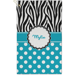 Dots & Zebra Golf Towel - Full Print - Small w/ Name or Text