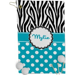 Dots & Zebra Golf Towel - Full Print (Personalized)