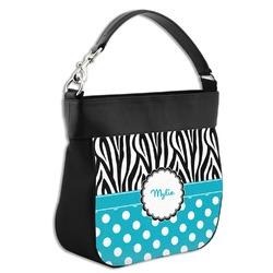 Dots & Zebra Hobo Purse w/ Genuine Leather Trim (Personalized)