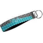 Dots & Zebra Wristlet Webbing Keychain Fob (Personalized)