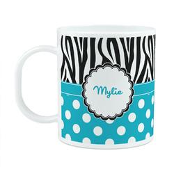 Dots & Zebra Plastic Kids Mug (Personalized)