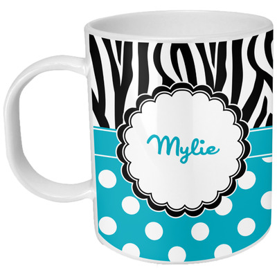 Dots & Zebra Plastic Kids Mug (Personalized)
