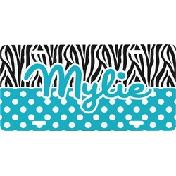 Dots & Zebra Front License Plate (Personalized)