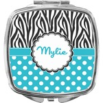 Dots & Zebra Compact Makeup Mirror (Personalized)