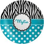 Dots & Zebra Melamine Plate (Personalized)