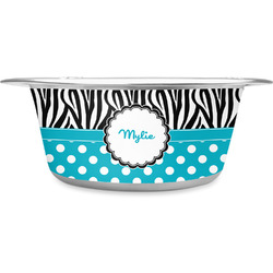 Dots & Zebra Stainless Steel Dog Bowl (Personalized)
