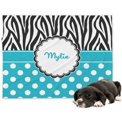 Dots & Zebra Minky Dog Blanket - Large  (Personalized)