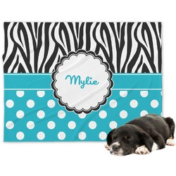 Dots & Zebra Minky Dog Blanket (Personalized)