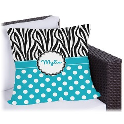 "Dots & Zebra Outdoor Pillow - 20"" (Personalized)"