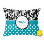 Dots & Zebra Outdoor Throw Pillow (Rectangular) (Personalized)