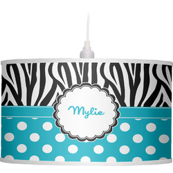 Dots & Zebra Drum Pendant Lamp Linen (Personalized)