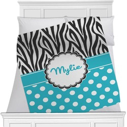 "Dots & Zebra Fleece Blanket - Twin / Full - 80""x60"" - Double Sided (Personalized)"