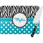 Dots & Zebra Rectangular Glass Cutting Board (Personalized)