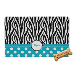 Dots & Zebra Pet Bowl Mat (Personalized)
