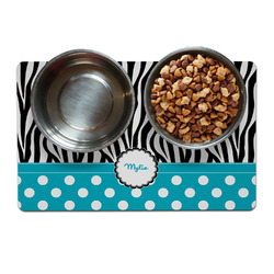 Dots & Zebra Pet Bowl Mat (Personalized)