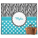 Dots & Zebra Outdoor Picnic Blanket (Personalized)
