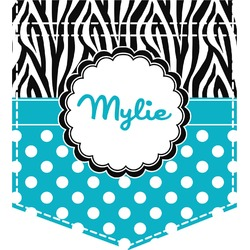 Dots & Zebra Iron On Faux Pocket (Personalized)